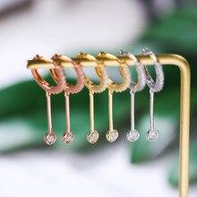 925 Sterling Silver Circle Water Drop Zircon Long Earrigns Rose Gold Creative Elegant Korea Drop Earrings for Women 2019 Jewelry недорого