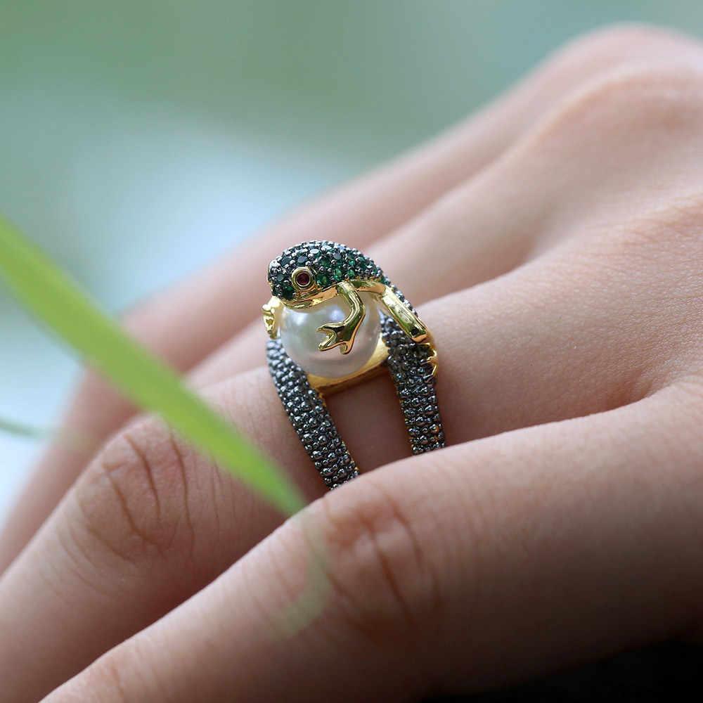 คริสตัลกบแหวน vintage เลียนแบบไข่มุก 925 เงิน AAA CZ หินสัตว์แฟชั่นเครื่องประดับแหวน