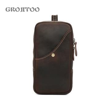 GROJITOO  2020new mens chest bag Genuine Cow Leather Messenger Bag Men Handbag Chest Crossbody Shoulder