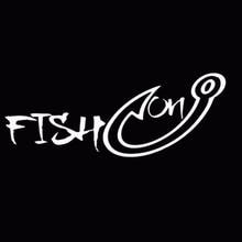 SLIVERYSEA 18*7CM Fishing Hook Fisherman Fish Hobby for Men Vinyl Car Window Sticker Decals Black Silver
