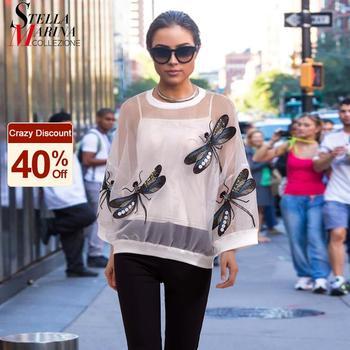 Unique Style Woman Summer Black White Sheer Mesh Tee Top Dragonflies Organza T-shirt Transparent Tshirt Oversized T shirts 3394 1