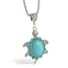 Fashion Creative Turtle Pendant Necklace Persionalized Turquoise Long Necklace Sweater Chain Stylish Women Jewelry stylish turquoise crescent necklace for women