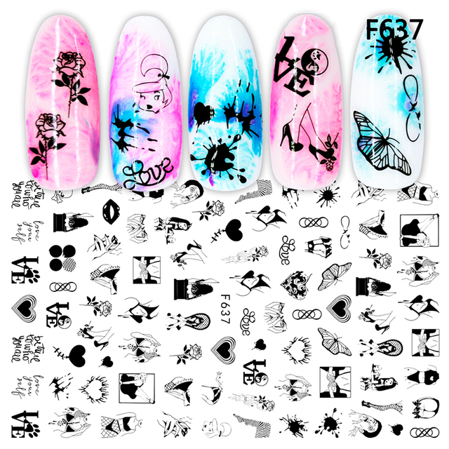 3D Nail Sticker Cool English Letter Nail Art Decorations Foil Love Heart Design Nails Accessories Fashion Manicure Stickers 6