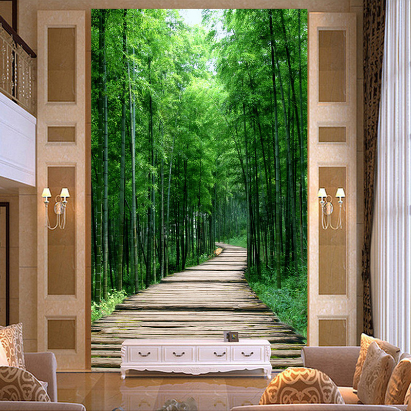 Custom 3D Photo Wallpaper Green Bamboo Forest Small Road Living Room Entrance Corridor Decoration Wall Painting Mural Wall Paper