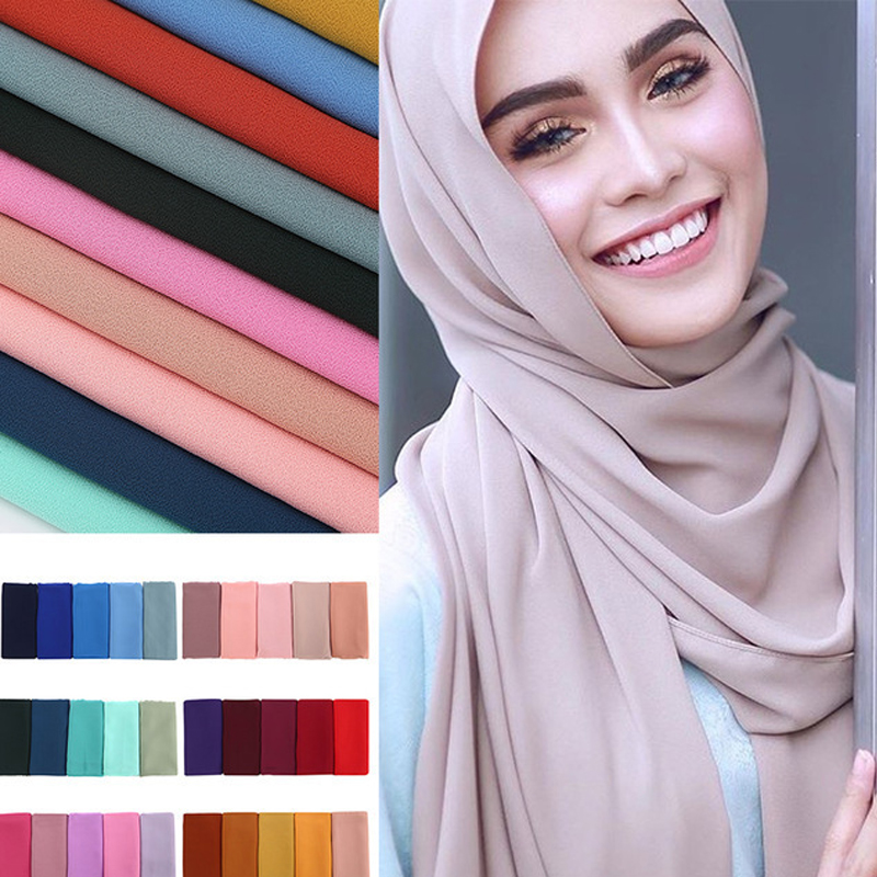 2019 Women Muslim Bubble Chiffon Hijab Scarf Femme Musulman Shawls And Wraps Islamic Headscarf Turkey Scarf Niqab