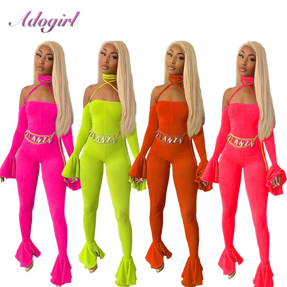 Sexy Ruffles Spliced Flare Jumpsuit Women Slash Neck Off Shoulder Long Flare Sleeve Backless Night Party Club Rompers Overalls