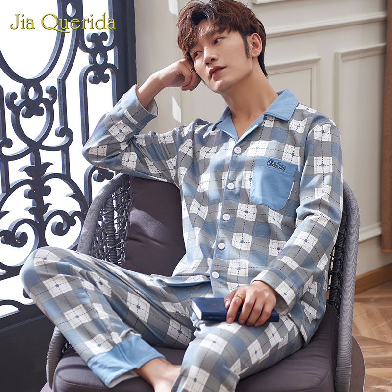 Men Pajamas Pyjamas Men Homesuit Button Pj Set Sleepwear Plaid Fashion Style Long Pants Long Sleeve Turn Dollar Pijama Set