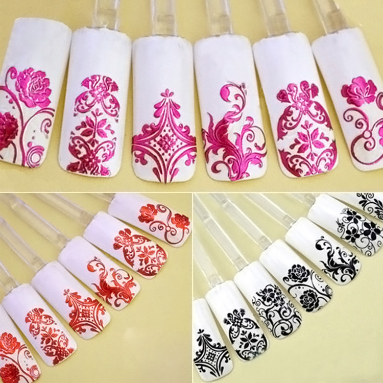 Metal Sticker Phototherapy Manicure All Adhesive Paper Nail Polish Flower Stickers Bronzing Silver Crustacean Pet J003 8-Color 1