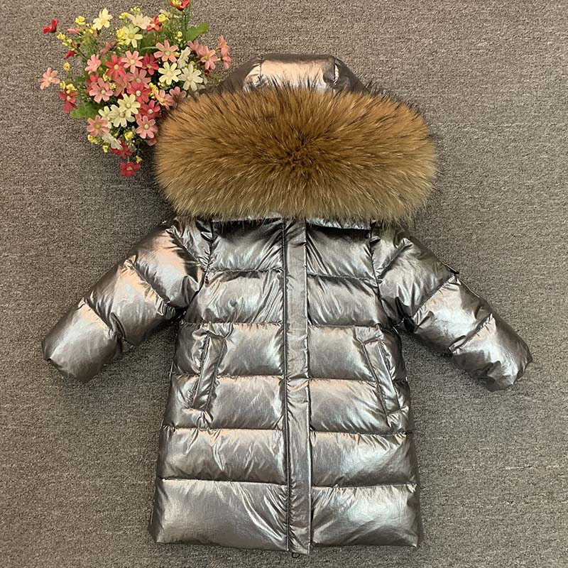 Детская зимняя утепленная парка из натурального меха для мальчиков и девочек, длинное пальто на 90 пуха, пальто, верхняя одежда для детей от-30...