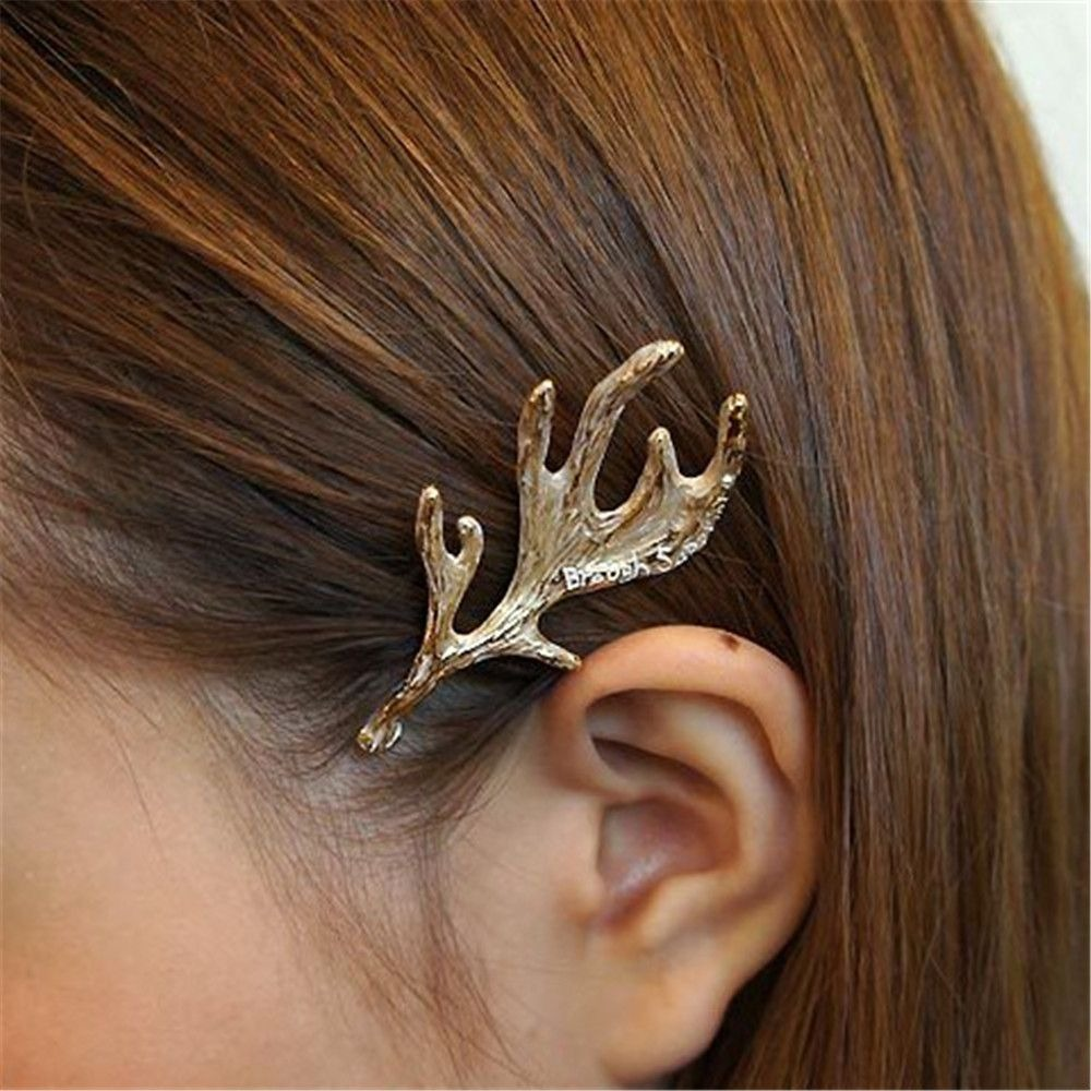 Fashion Alloy Metal Hair Clip Deer Ear Hairpin Antlers Barrette Gold Color Women Girl Hair Accessories