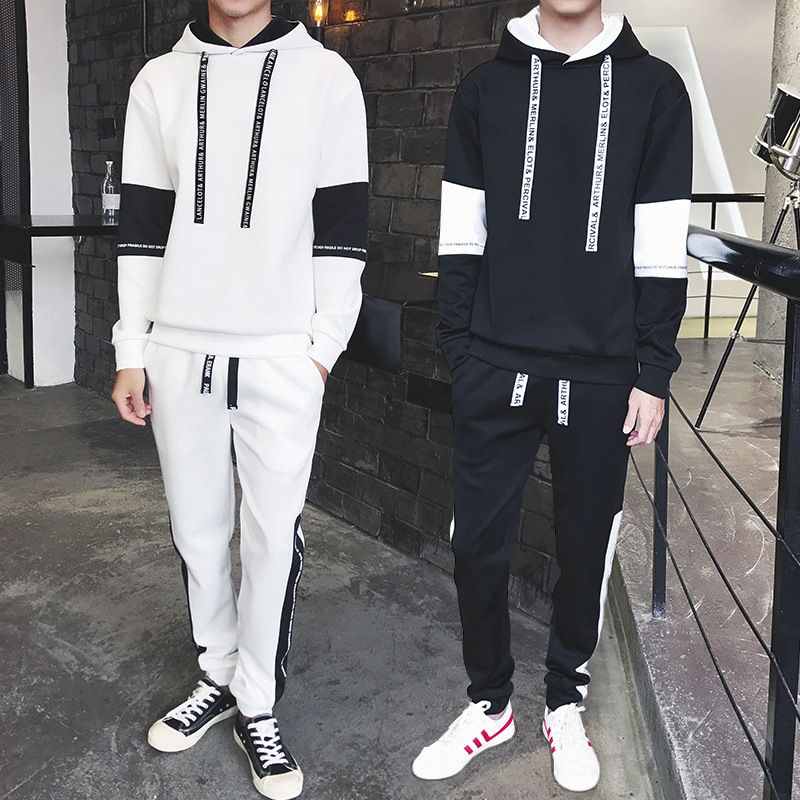 Autumn Hoodie Suit Men's Hooded Korean-style Trend A Set Of Sports Clothing Teenager Students Men Casual Two-Piece Set