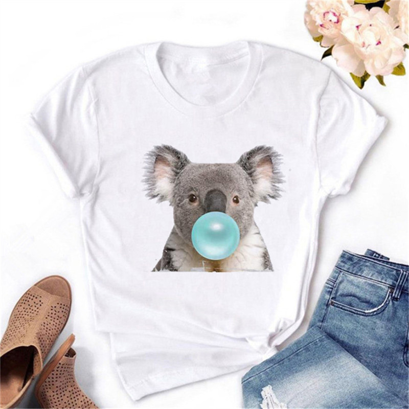 Maycaur Koala Chewing Gum Print Women Tshirt Summer Casual Funny Graphic T Shirt Gift For Lady Yong Girl Cute Female Tops Tees