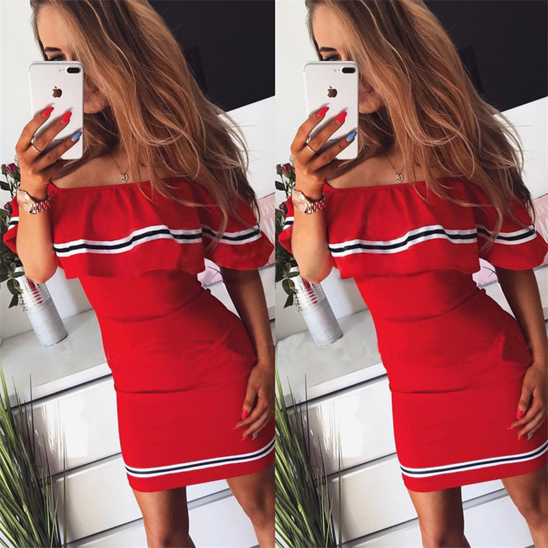 H402b84a066cc45c5894f3be385a31ed59 - Off Shoulder Slash Neck Sexy Autumn Party Dress Striped Ruffles Short Sleeve Summer Dress Women Plus Size Casual Beach Vestidos