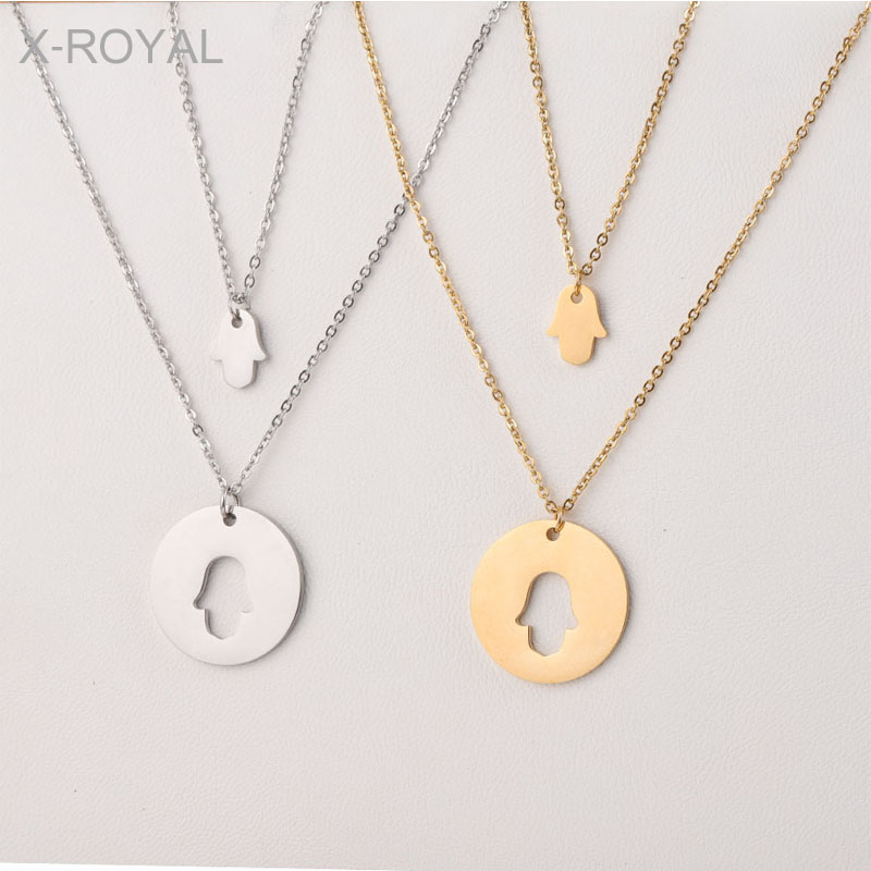X ROYAL Women Fashion Jewelry Hollow Hands Pendant Necklaces Creative Two Layers Stainless Steel Female Charm Necklaces 40 50cm in Pendant Necklaces from Jewelry Accessories