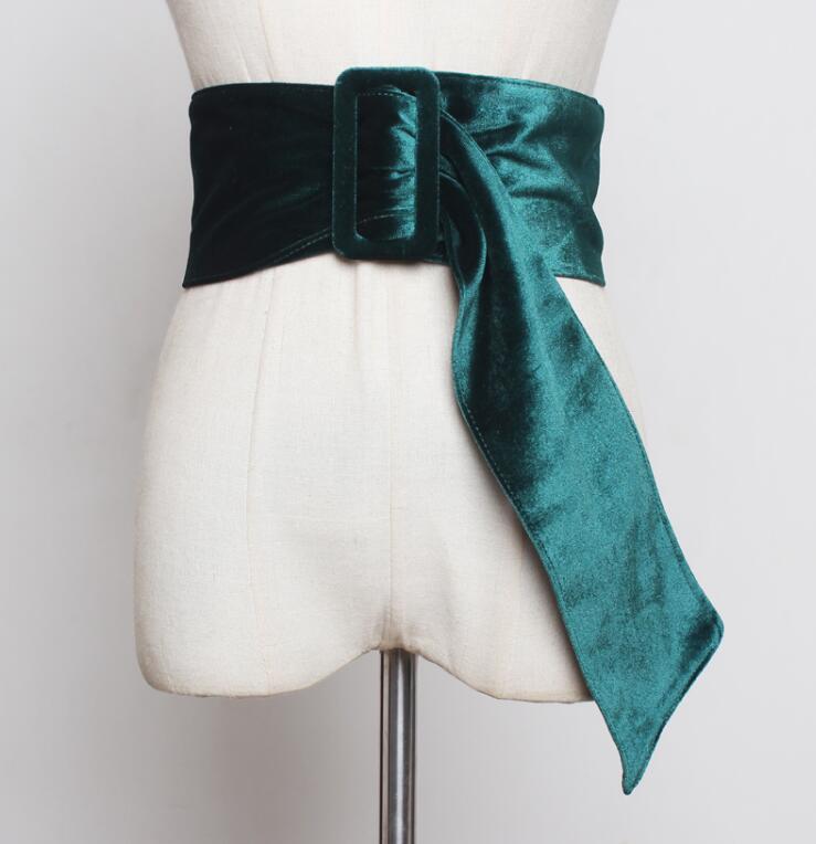 Women's Runway Fashion Faux Suede Leather Cummerbunds Female Dress Corsets Waistband Belts Decoration Wide Belt R2258