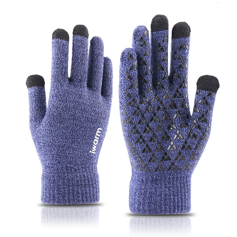 Male Thicken Wool Cashmere Solid Gloves For Smart Phone Tablet Flexible Full Finger Gloves Winter Autumn Warm Men Knitted Gloves