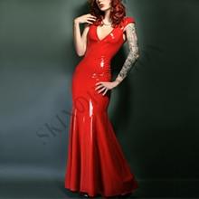 Красный латексное резиновое платье мини-платье с декольте