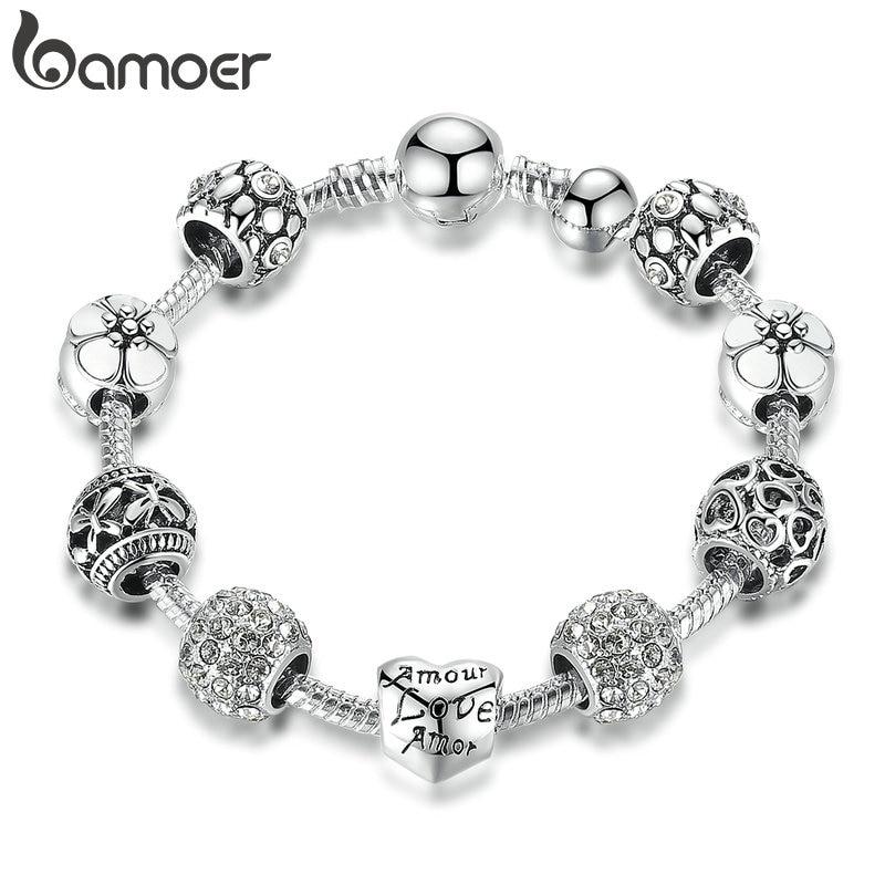 BAMOER-pulsera y brazalete con abalorios de amor y flores, 4 colores, 18CM, 20CM, 21CM, PA1455