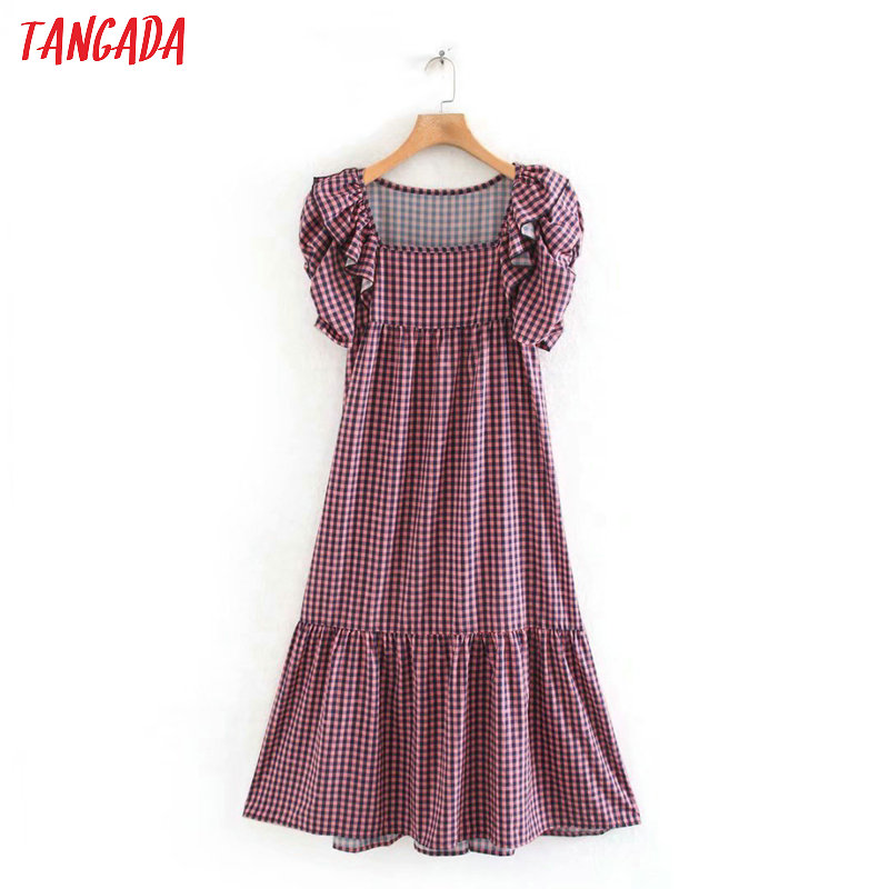 Tangada Fashion Women Plaid Print Summer Dress 2020 New Arrival Ruffles Short Sleeve Ladies Midi Dress Vestidos 5Z54