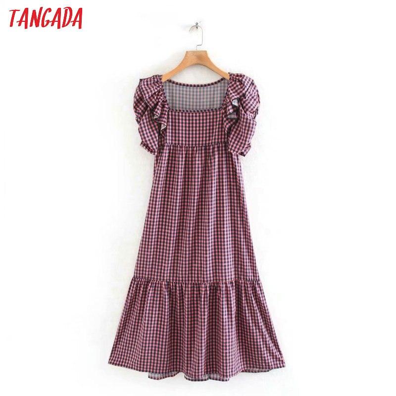 Tangada Fashion Women Plaid Print Summer Dress 2020 New Arrival Ruffles Short Sleeve Ladies Midi Dress Vestidos 5Z54