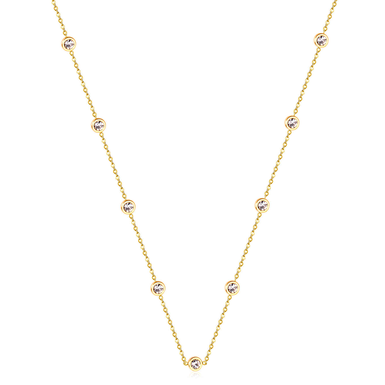 LUXUKISSKIDS עגול זירקון תליוני שרשראות זהב צבע נירוסטה ארוך 57cm + 5cm קישור שרשרות שרשראות תלבושות אבזרים
