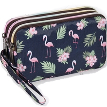 Flamingo Print Wallet Canvas 3 Layer Zipper Large Capacity Day Clutch Coin Purse for Cellphone Monederos Para Mujer Cremallera