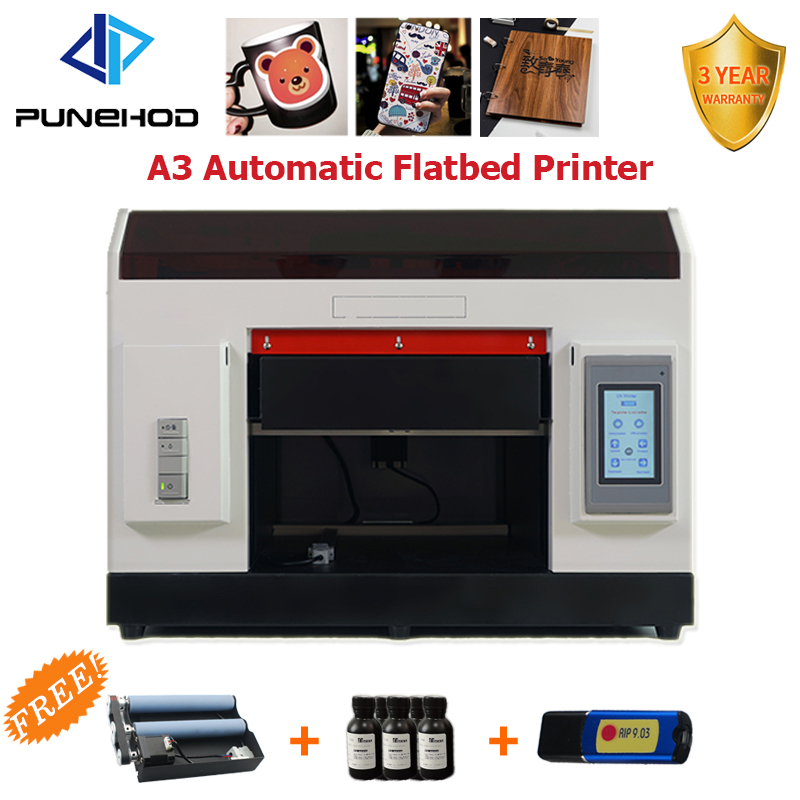 Punehod UV yazıcı A3 boy dijital Led döner Flatbed yazıcı şişe baskı makinesi ücretsiz tepsisi + mürekkep