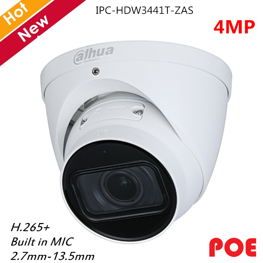 Dahua IP Camera 4MP Motorized Vari-focal Lens 2.7-13.5mm Built In MIC H.265+ Support POE And SD Card Security Camera System