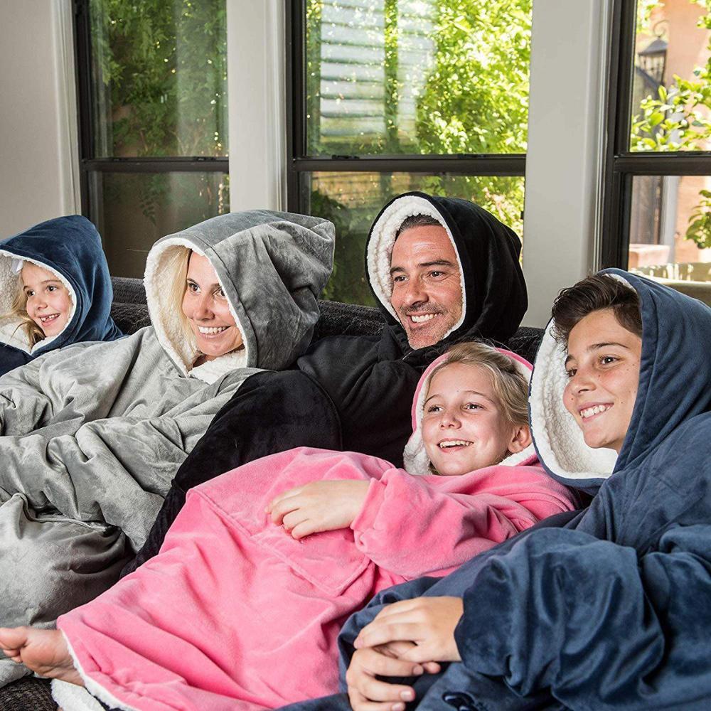 Winter Sherpa Blanket With Sleeve Ultra Plush Blanket Hoodie Pink Grey Wine Blue Warm Flannel Hooded Blankets-0