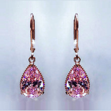 Luxury Female Pink Zircon Drop Earrings High Quality Rose Gold Color Wedding Earrings Fashion Crystal Double Earrings For Women(China)