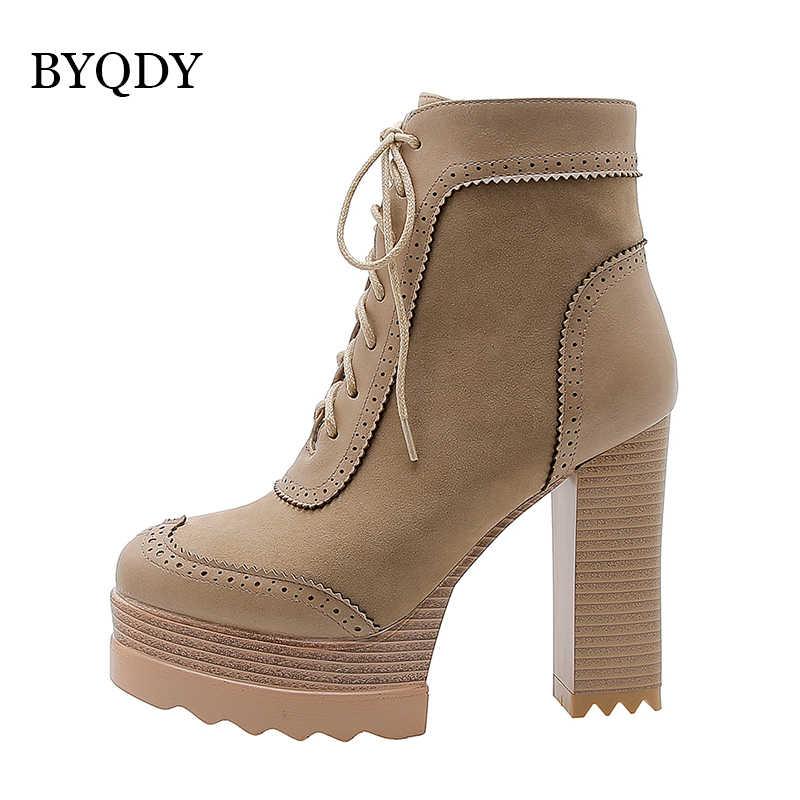 BYQDY Plus Size 34-42 Vrouwen Enkellaarsjes Platform Rits Alle Match Winter Laarzen Vierkante Hoge Hak Dames Schoenen zwart Grijs Kaki