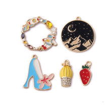 10pcs DIY handmade metal enamel shoes moutain hill Hot Air Balloon charms bracelet pendants for necklace earring jewelry making(China)