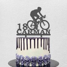 Personalized Cycling Racer Cake Topper Custom Name Age Men Cycling Silhouettes For Cycling Fans Birthday Party Decoation Topper