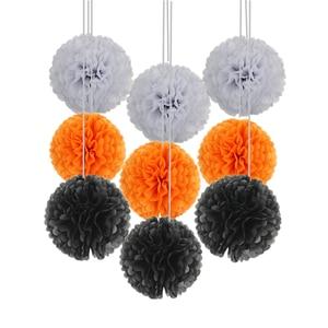Image 3 - 9 unidades/juego de pompones de seda para boda, pompones de papel decorativos, pompones, bolas, fiesta, decoración del hogar, decoración de fiesta de cumpleaños