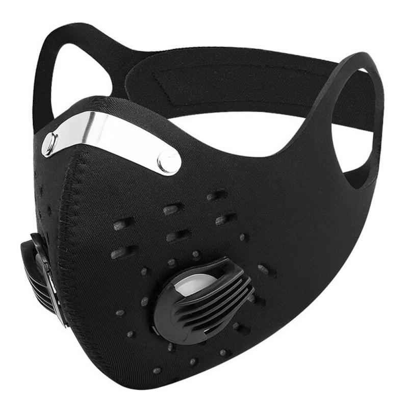 Cycling Mask With Breathing Valve Carbon Mask Anti-spittle Windproof Sports Masks Face Respirators Outdooor Running Hiking Sport