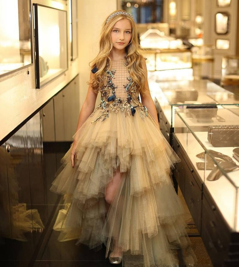 2020 New Designer High Low Girls Pageant Dresses Embroidery Lace Formal Wear Floral Appliqued Tulle Kids Flower Girl Prom Dress