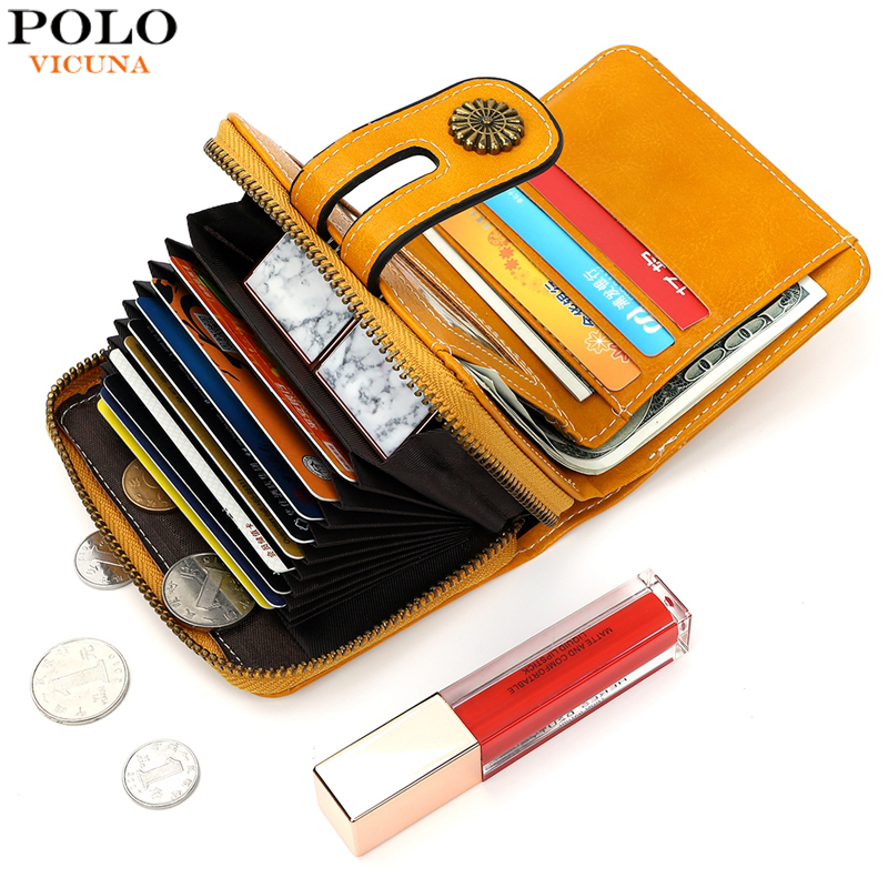VICUNA POLO High Quality Capacity Small Leather Card Holder Wallet For Women Fashion Ladies Leather Wallet Portafoglio Donna