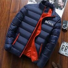 Jaqueta de inverno homens sim chefe moda gola masculina parka jaqueta masculina sólida grosso jaquetas e casacos homem parkas inverno