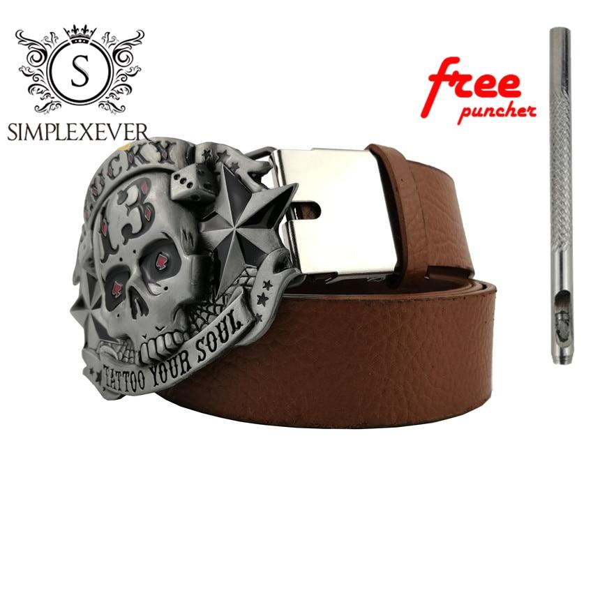 Western Style Businessman Metal Belt Buckle Cowboy Belt Accessories For Men Silver Skull Belt Buckle With Leather Belt