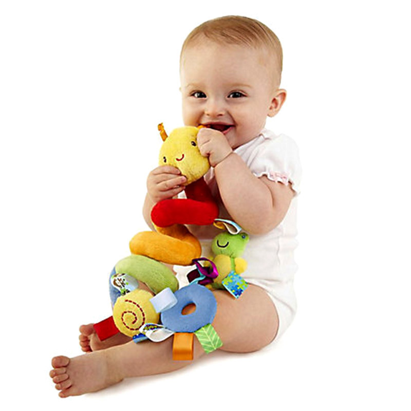 Baby Mobile Crib Music Toy Kid Crib Cot Pram Ringing Bed Bells Spiral Rattles Toys FO Sale