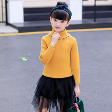 Girls Knitwear Autumn&Winter Baby Girls Sweater Solid Color Turtleneck Knitted Pullover Warm Kids Tops Children Cardigan 2018 infant baby girls embroidered sweater girls autumn knitted sweater children kids tops girls clothes cardigan winter tops 10
