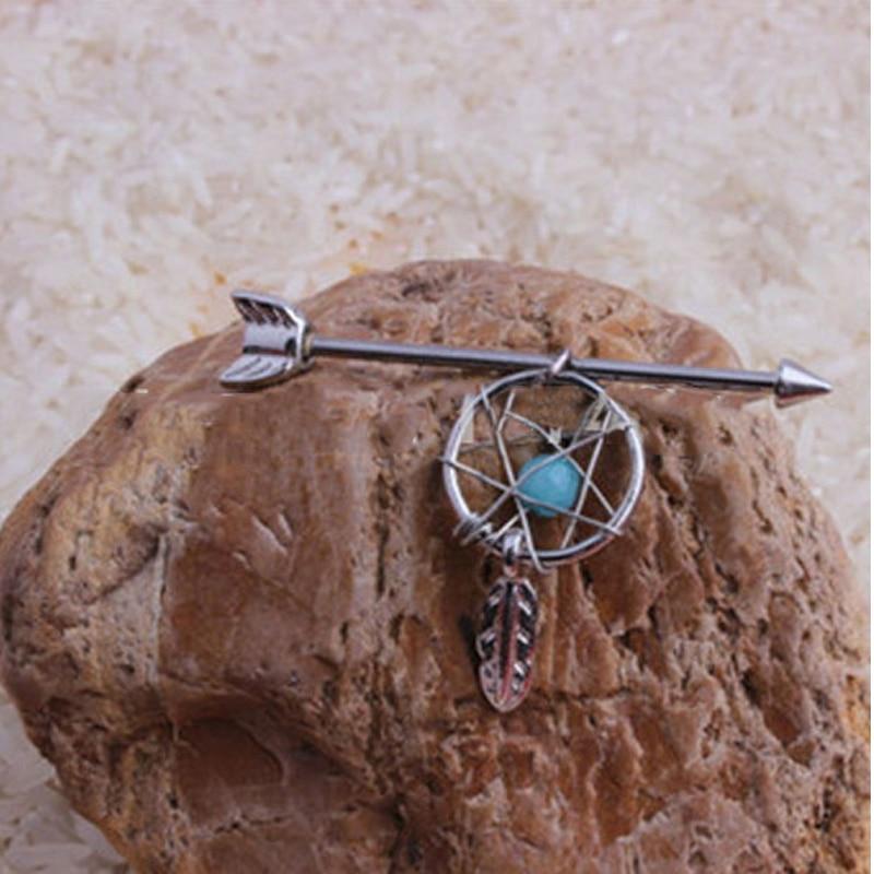 316L Stainless Steel Industrial Piercing Dream Catcher Earrings piercing barbell Fashion Ear Industrial Piercing Body Jewelry