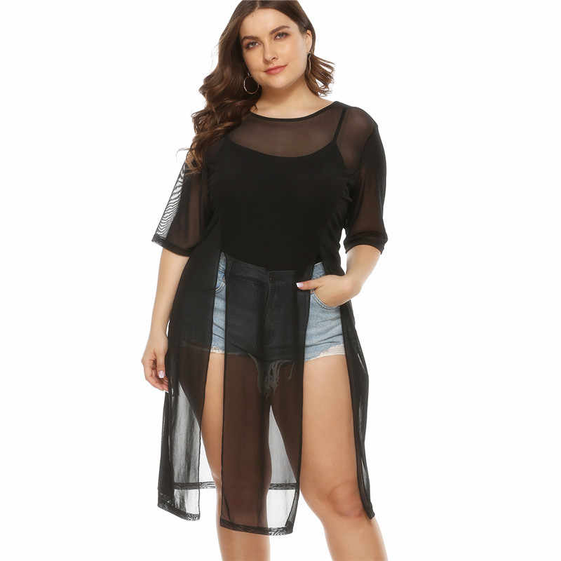 Plus Size Swimsuit Cover Up Womens Lace Beachwear Sexy Black Mesh Beach Dress Round Neck Sleeve Bathing Suit Cover Ups Dresses Aliexpress