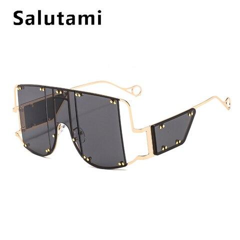 Oversize Rivet Square Women Sunglasses Luxury Brand One Piece Shield Men Punk Sun Glasses Female Chic Sexy Gold Clear Shades Islamabad