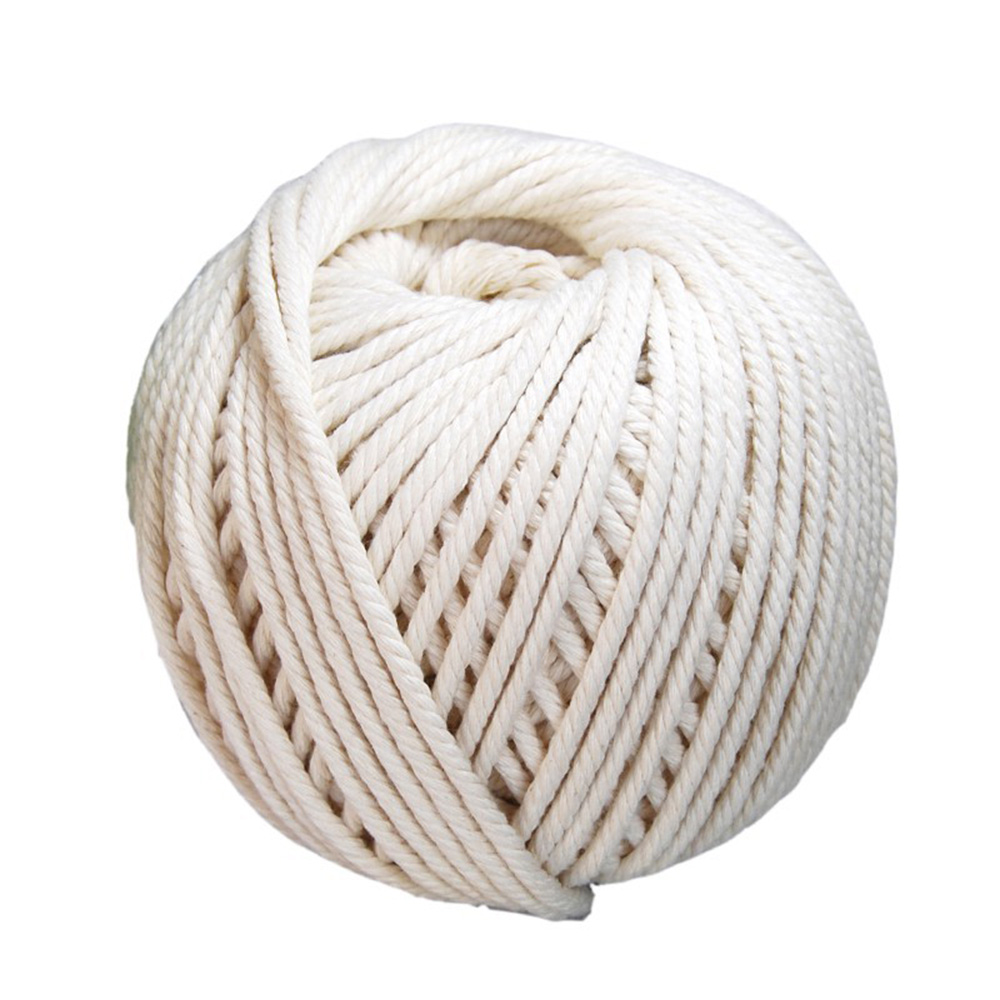 4mmx100m 100%Cotton Rope Durable Natural Beige White Macrame Cotton Twisted Cord Rope DIY Home Textile Accessories Craft