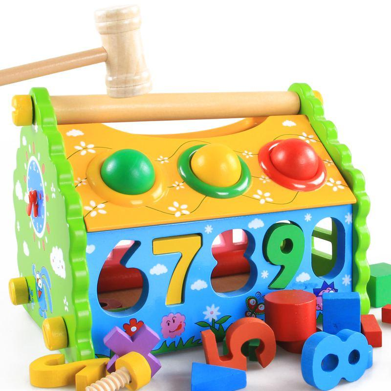 Model Building Kits House/Children's Geometry Numbers Disassembling Combination Blocks Toy, Kids Wooden Educational Blocks Toys