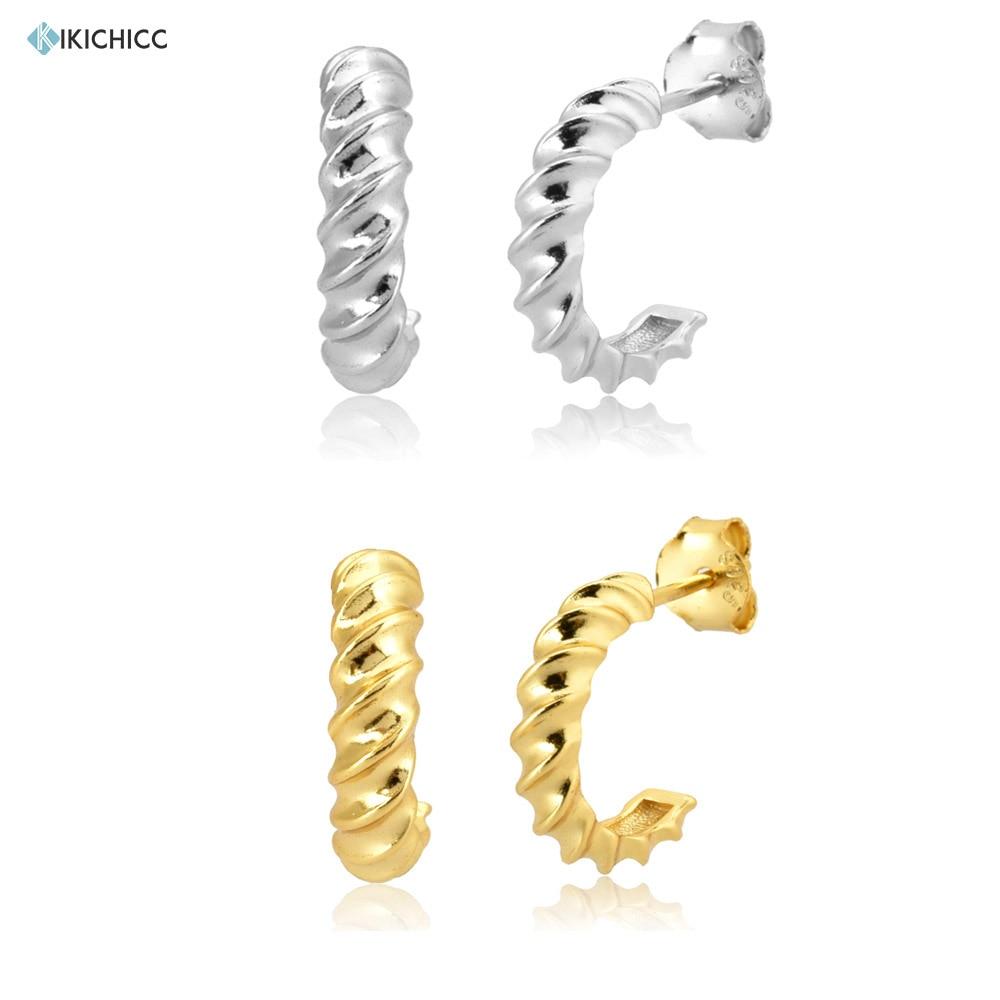 Kikichicc 925 Sterling Silver 9.5mm Twist Circle Hoops Round Luxury Women Huggies Earring Jewelry Piercing Clips Ohrringe