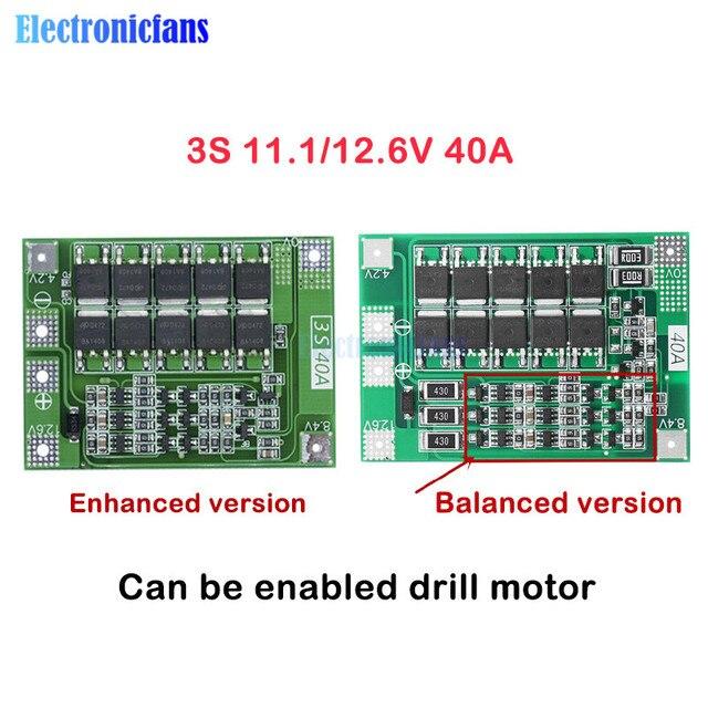 3S 40A Li Ion Batteria Al Litio Caricabatterie Lipo Cellulare Modulo Pcb Bms Bordo di Protezione per Il Motore Del Trapano 12.6V con equilibrio