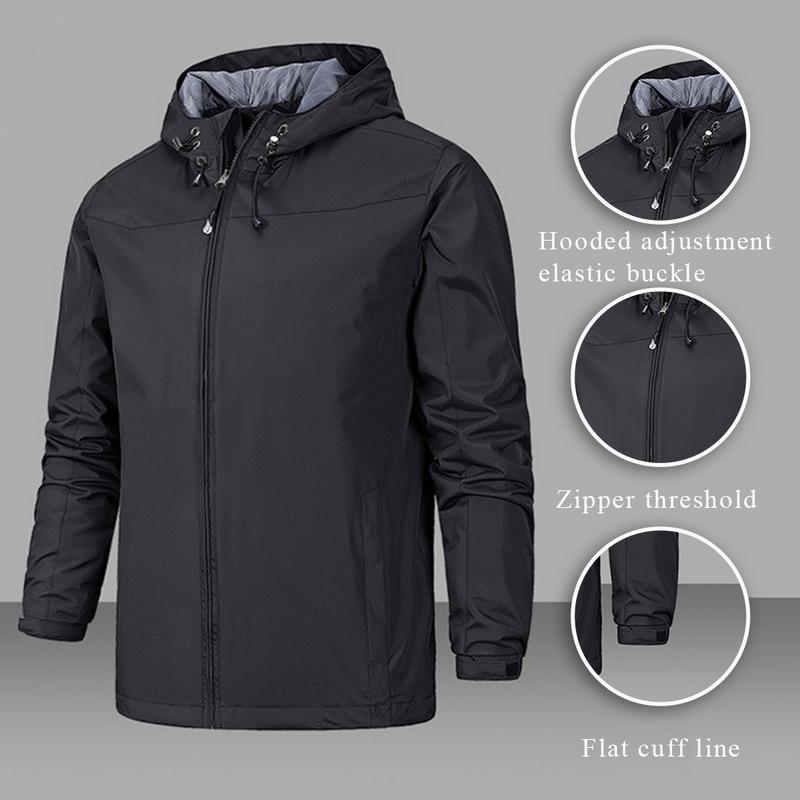 2020 Waterproof Coat Windproof Warm Solid Color Lightweight Hooded Zipper Fashion Male Coat Outdoor Sportswear Men Winter Jacket