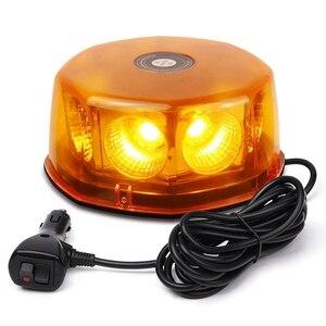 12-24V 8-COB stroboskop LED światło żółte/bursztynowe światła ostrzegawcze Super jasne ostrzeżenie awaryjne lampa błyskowa światło ostrzegawcze z podstawa magnetyczna f